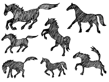 collection of black sketchy horse silhouettes