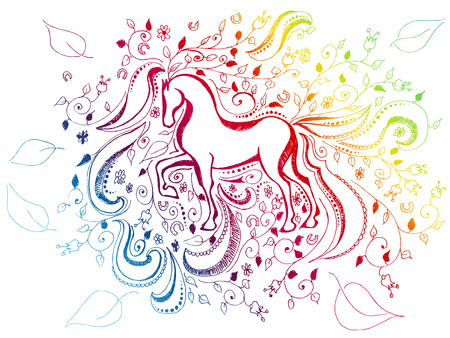 abstract floral sketchy doodle rainbow background with horse Illustration
