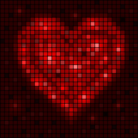 abstract mosaic glowing heart background