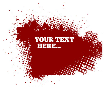 abstract red grunge background with splats and halftone effects Illustration