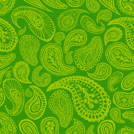 green abstract hand drawn seamless paisley background
