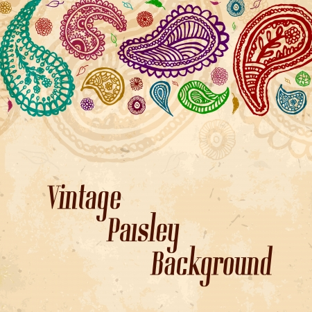 vintage paisley hand drawn background Vector