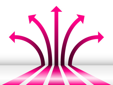 abstract pink 3d glossy arrows background Vectores