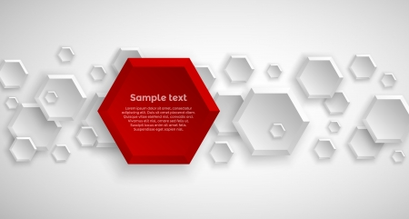 Abstract hexagon colorful red background