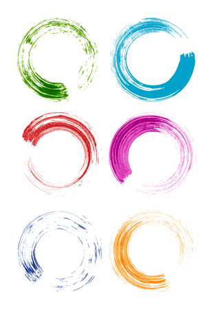 set of colorful brush stroke circles