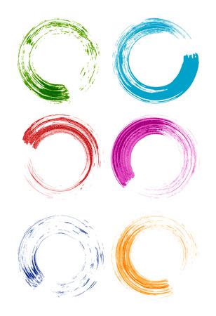 set of colorful brush stroke circles