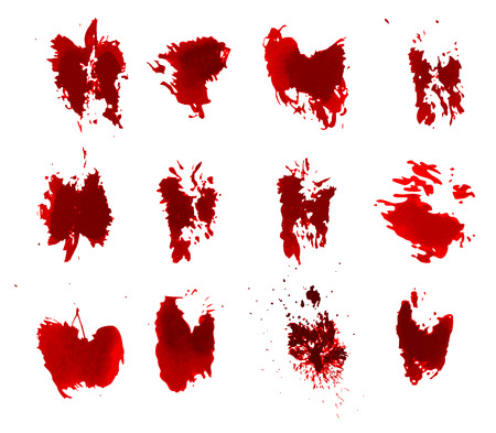 Red bloody ink color grunge splats