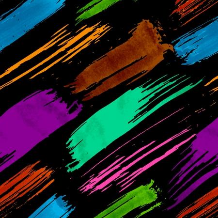 Colorful dark grunge brush strokes seamless pattern