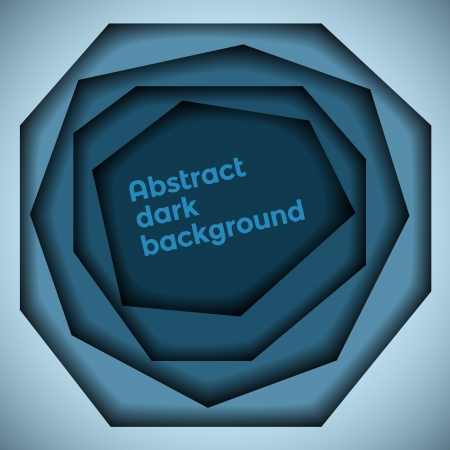 Abstract blue dark 3d hole background  Vectores