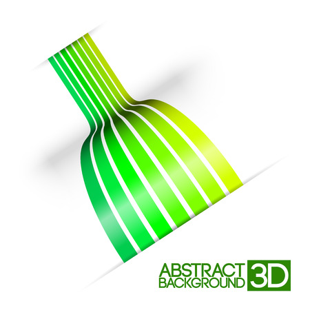 Abstract colorful 3d green stripes vector background Ilustracja