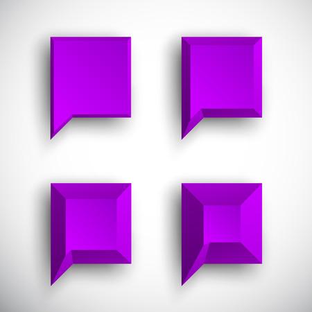 Set of 3d violet purple square speech bubbles