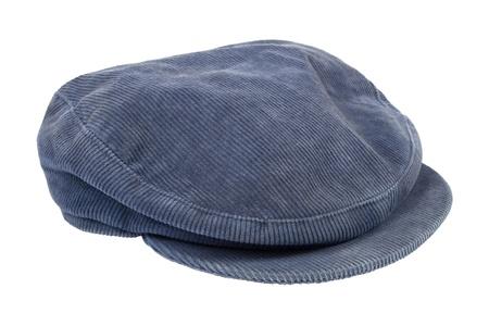 Blue corduroy cap isolated on white background