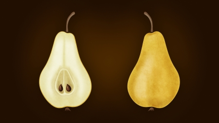 Illustration of yellow cutted pear on brown background Standard-Bild