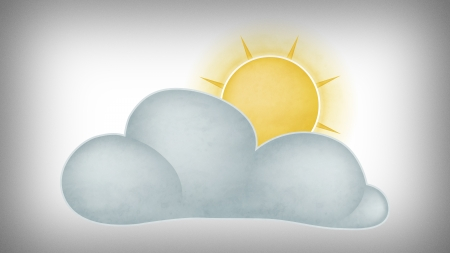 Illustration of the sun behind the clouds on gray background Standard-Bild