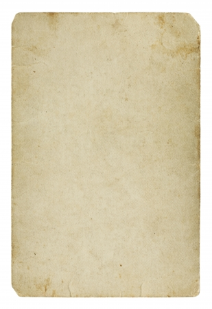 Old blank paper card isolated on white background