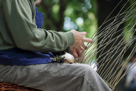 Picture of a basket maker at work