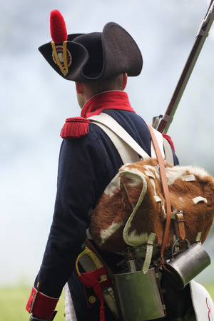 historical periods: Soldier of French foot artillery with kit bag Stock Photo