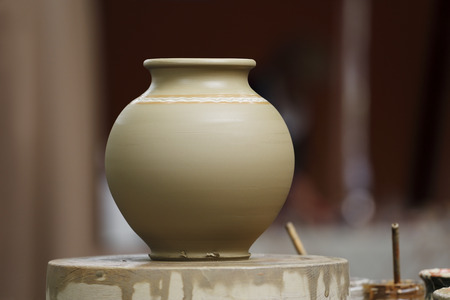 Picture of raw clay vase in traditional rural style
