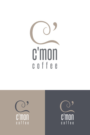 Coffee style icon design with mark mased on the shapes of \