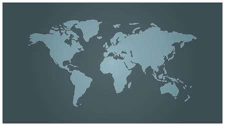 Simple vector map of the World toned blue