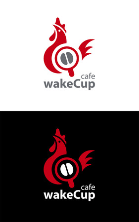 Coffee style logo based on abstract interconnected shapes of rooster as wake up symbol and coffee cup with coffee bean inside.