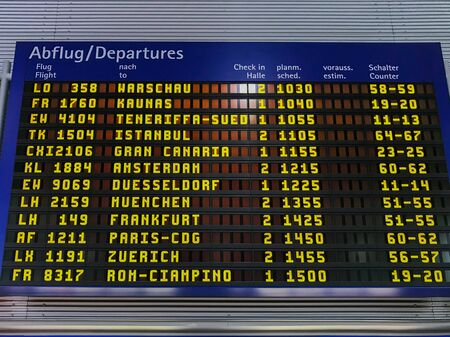 Departure board from the airport with lots of flights prepared during the day to more European destinations and various companies.