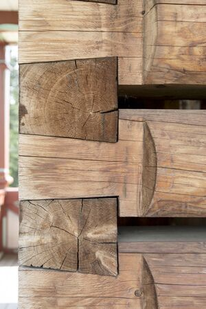 nice carpentry joints with massive wooden beams 写真素材