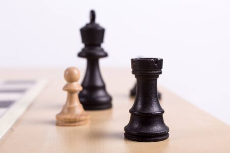 Close up view of chess pieces out of the game