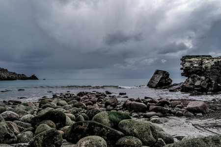 cornwall: Storm over Lamorna Cove - Cornwall, England Stock Photo