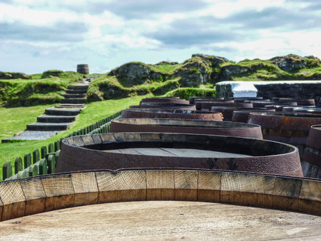 scotland: Blurred background whisky casks Stock Photo