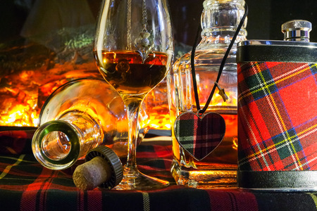 Whisky with open fire in background