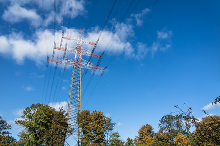 Pylon with blue sky in background Stock Photo