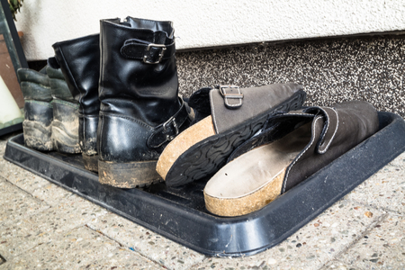 cleansed: old shoes waiting to be cleansed