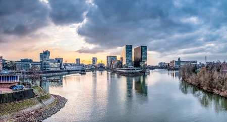 Skyline of Duesseldorf during sunset