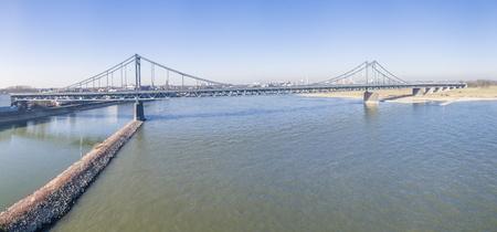 Aerial of the bridge between Krefeld and Duisburg