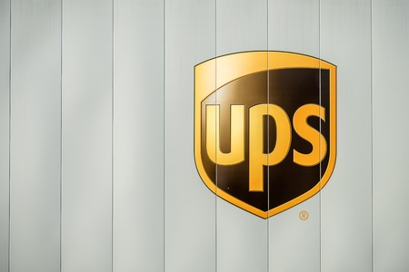 Herne, Germany - February 14, 2017 : United Parcel Service emblem printed on a truck Editorial