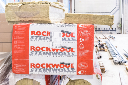 glasswool: Herne, Germany - February 22, 2017 :Rockwool waiting to be installed, Translation: Rockwool Editorial