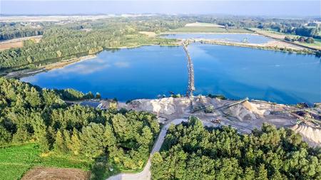 Aerial view of a gravel quarry