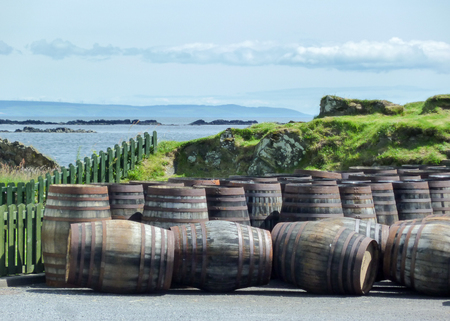 Islay, Scotland - Sseptember 11 2015: The sun shines on Ardbeg distillery warehouse