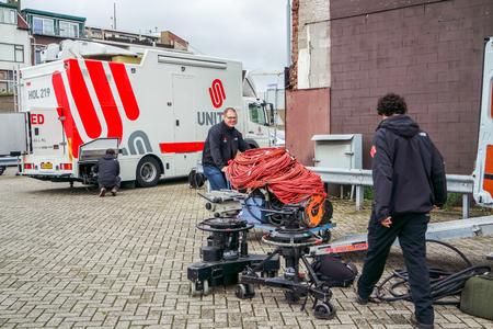 ijmuiden: Ijmuiden, Netherland - August 16 2015 : United television broadcast workers prepare for the Ijmuiden harbour festival
