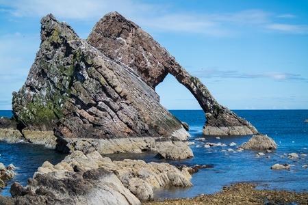 Bow fiddle rock at Portknockie, Aberdeenshire, Scotland Standard-Bild