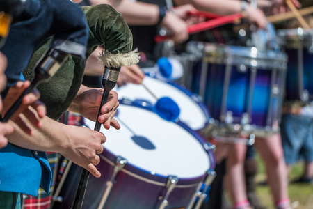 drumming: Traditional scottish piping and drumming background