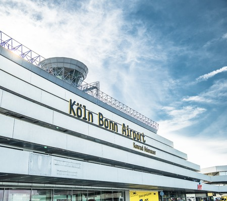 COLOGNE GERMANY - MARCH 14: Cologne Bonn Airport terminal under the clouds