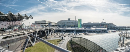 COLOGNE  GERMANY - MARCH 14: Cologne Bonn Airport terminal under the clouds Editorial