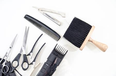 comb: Vintage tools of barber shop on white background