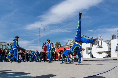 Amsterdam  Netherlands - April 31, 2017 - The Ajax Amsterdam breakdancing group performing in the city at the I amsterdam letters Editorial