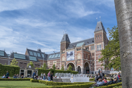 Amsterdam  Netherlands - April 31, 2017 : People enjoying the museum garden