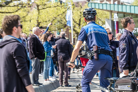 Amsterdam  Netherlands - April 31, 2017 : The handhaving police department having a look in the streets of the city