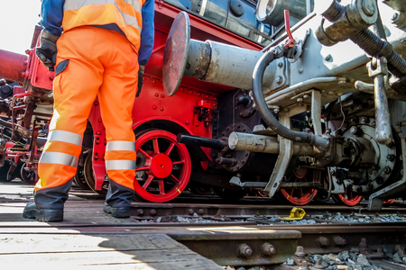 Railway worker in action