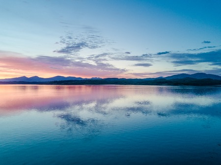 bens: Aerial of an amazing sunset at Loch Creran, Barcaldine, Argyll Stock Photo